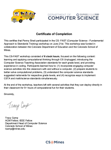 CS Fast Class (1/2 Graduate Credit) Certification